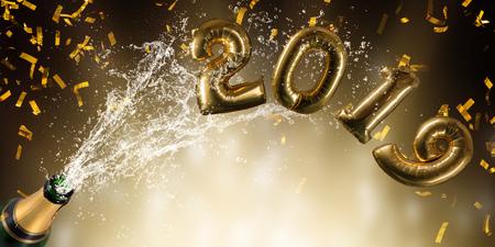 Bottle of champagne, New year 2019 celebration theme. Stock Photo