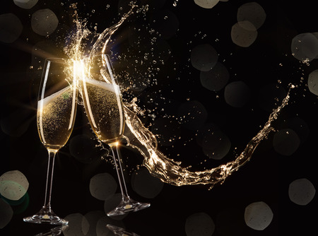 Glasses of champagne, celebration theme.