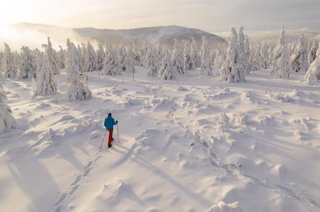 Sunny winter landscape with man on snowshoes. Foto de archivo - 115303036