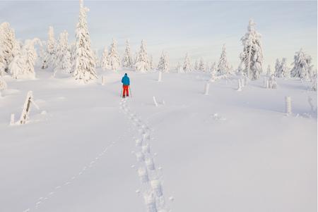 Sunny winter landscape with man on snowshoes. Foto de archivo - 115302842