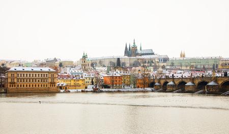 Prague Castle and Charles Bridge at winter, Czech Republic.