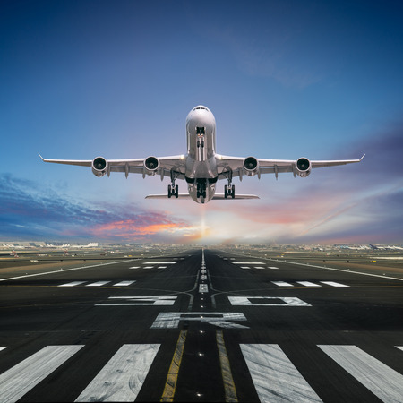 Airplane taking off from the airport. 스톡 콘텐츠