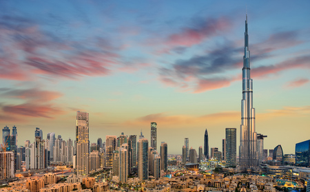 Amazing panoramic view on Dubai futuristic skyline, Dubai, United Arab Emirates Banco de Imagens