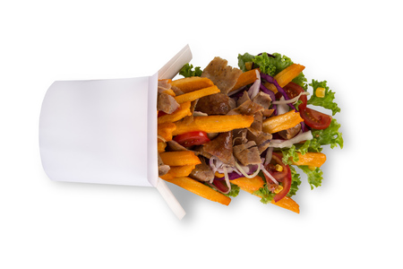 Turkish Kebab box with french fries on white