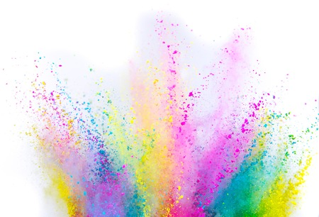 Colored powder explosion on white Stock Photo