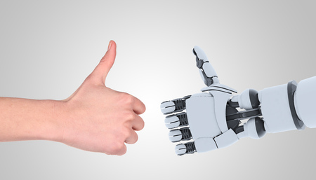 Robot and man hands showing gesture, isolated on white. Banco de Imagens