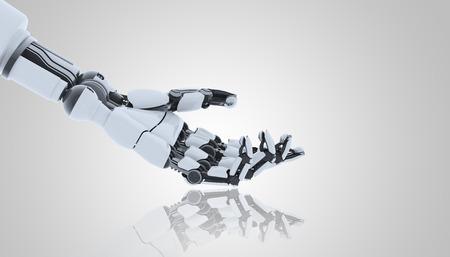 Main de robot montrant le geste, isolé sur blanc