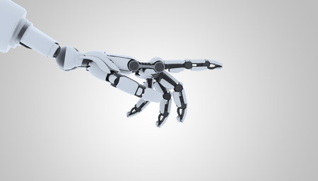 Robot hand showing gesture, isolated on white