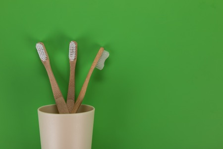 Eco friendly bamboo teeth brushes. Zero waste concept. Stock Photo