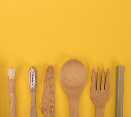 Eco friendly bamboo cutlery and teeth brushes. Zero waste concept.