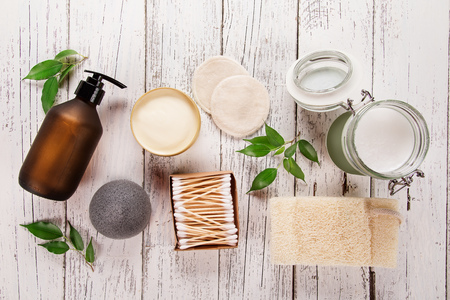 Zero waste supplies for personal hygiene. Sustainable lifestyle concept. Banco de Imagens