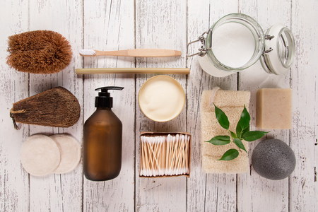 Zero waste supplies for personal hygiene. Sustainable lifestyle concept. Stock Photo