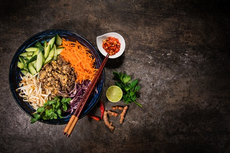Asian food background with various ingredients on rustic stone background , top view. Stok Fotoğraf - 120480504