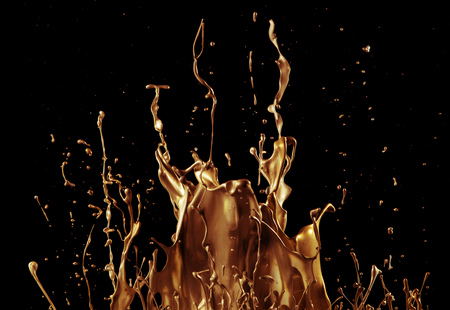 Abstract golden liquid splash on black