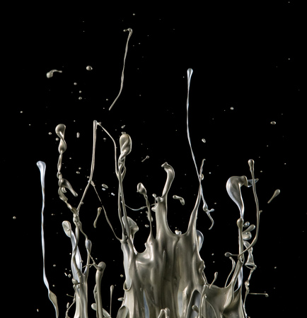 abstract silver liquid splash on black background