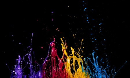 abstract color splash on black background Imagens