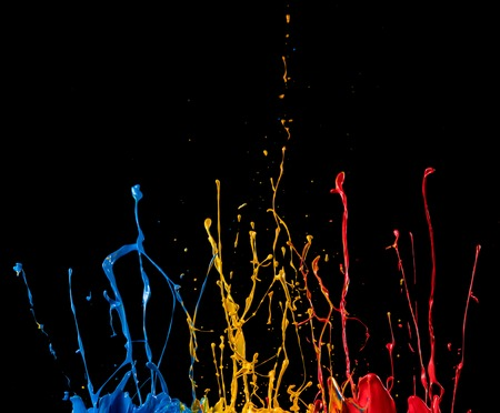 abstract color splash on black background Stock Photo