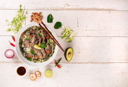Asian food backgrounds on rustic wooden background , top view.
