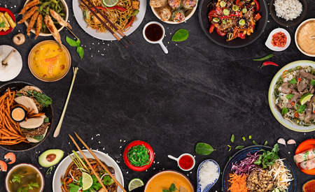 Asian food  with various ingredients on rustic stone Stock Photo