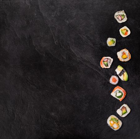 Japanese sushi set on black stone
