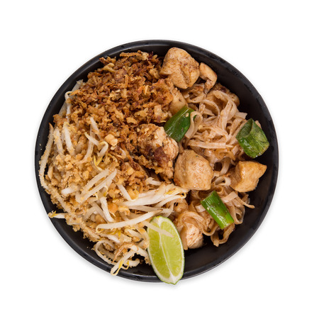 Pad thay asian food  with various ingredients on white