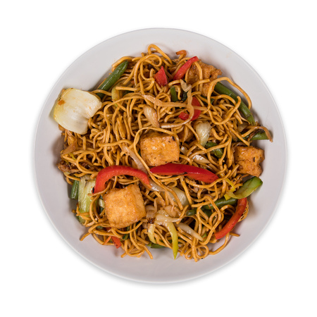 Vegetarian tofu noodles asian food  with various ingredients on white Stock Photo