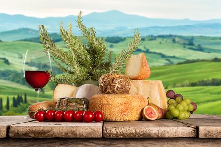 Varios tipos de queso italiano