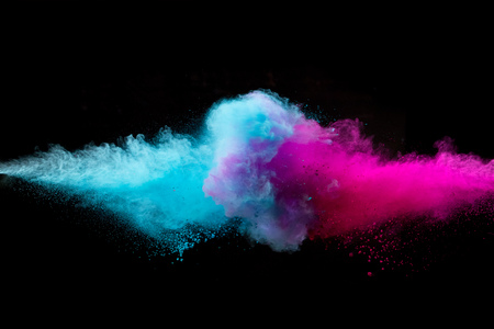 Colored powder collision on black