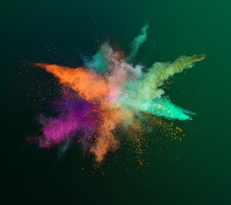 Colored powder explosion on gradient