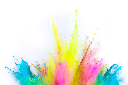 Colored powder explosion on white Zdjęcie Seryjne