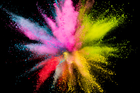 Colored powder explosion on black Stok Fotoğraf - 124302926
