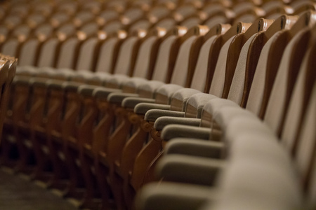 Vintage chairs on theateror concert hall, close-up