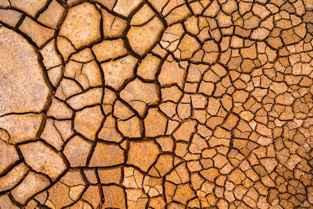 Brown dry cracked ground texture background. 写真素材