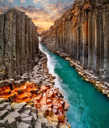 Breathtaking view of Studlagil basalt canyon, Iceland. 스톡 콘텐츠