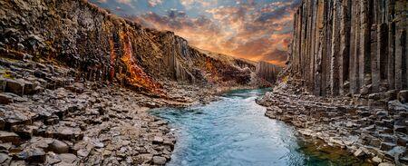 Breathtaking view of Studlagil basalt canyon, Iceland. 스톡 콘텐츠