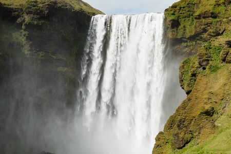 Close-uo of Skogafoss waterfall in Iceland