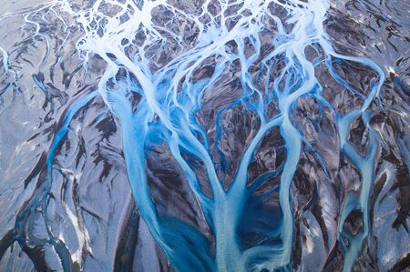 Beautiful aerial view of glacier river system in Iceland. Stok Fotoğraf