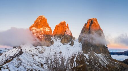 Beautiful autumn landscape in the Dolomites mountains. Stok Fotoğraf