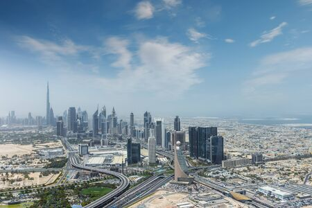 Aerial view of modern city skyscrapers in Dubai, UAE. Stock Photo
