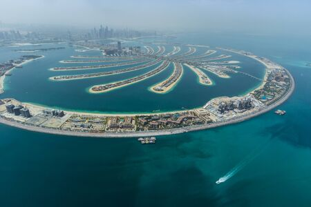 Dubai Palm artificial Island from hydroplane 版權商用圖片