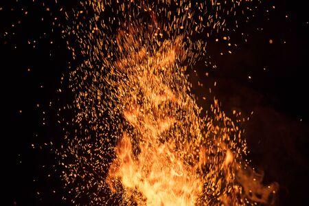 Burning sparks flying. Beautiful flames background. Zdjęcie Seryjne