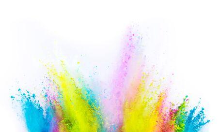 Gekleurde poederexplosie op witte achtergrond. Beweging bevriezen.
