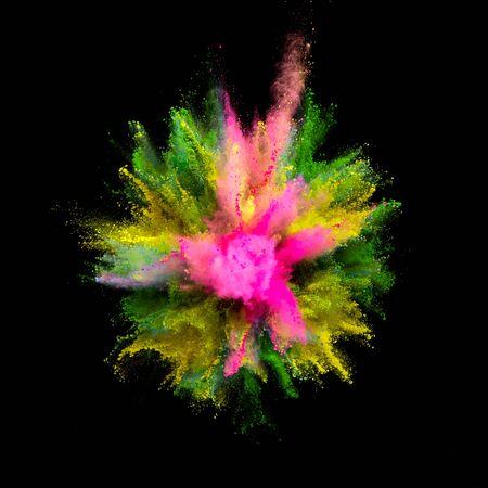 Farbige Pulverexplosion auf schwarzem Hintergrund. Bewegung einfrieren.