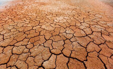 Brązowa sucha popękana tekstura ziemi