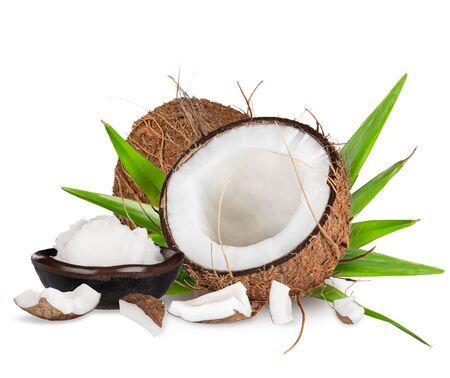 close-up van een kokosnoot op een witte achtergrond Stockfoto