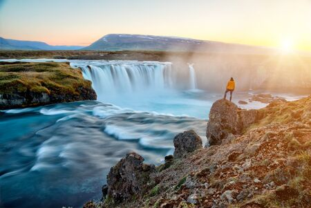 amazing Godafoss waterfall in Iceland during sunset