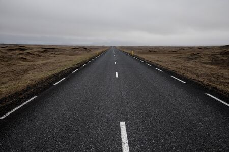 Travel to Iceland. Typical Icelandic landscape with Ring Road. 写真素材