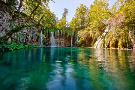 Beautiful scenery of Plitvice Lakes National Park in Croatia