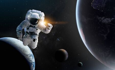 Konzept der Eroberung des Universums durch die Menschheit.