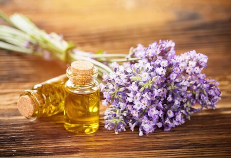 Wellness treatments with lavender flowers. 免版税图像